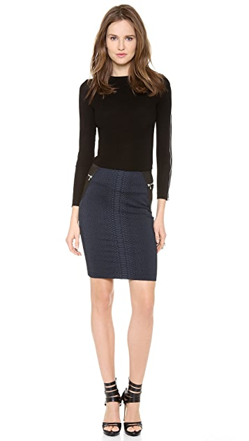 Yigal Azrouel Stretch Reptile Jacquard Skirt