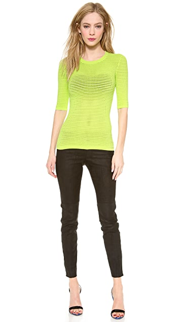 Yigal Azrouel Knit Pointelle Fitted Tee
