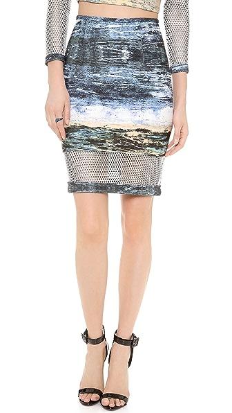 Yigal Azrouel Scuba Waterprint Mesh Skirt