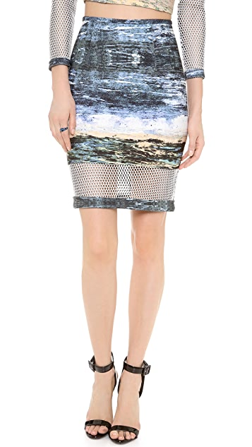 Yigal Azrouel Scuba Waterprint Mesh Skirt