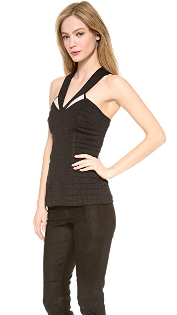 Yigal Azrouel Black Stretch Python Tight Top
