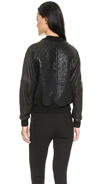 Yigal Azrouel Boucle Bomber with Leather Sleeves