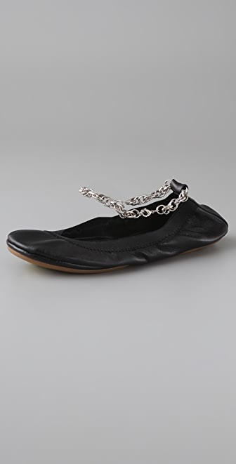 Yosi Samra Elastic Top Line Ballet Flats with Ankle Chain