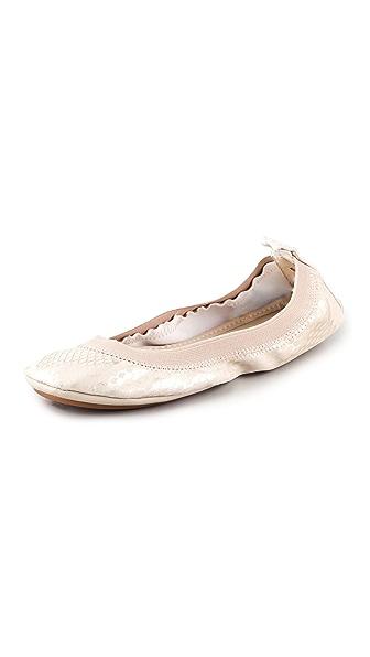 Yosi Samra Metallic Elastic Top Line Ballet Flats