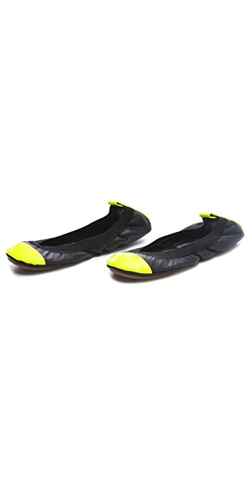 Yosi Samra Elastic Two Tone Cap Toe Flats