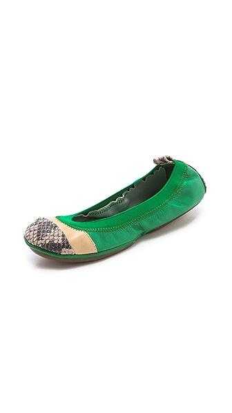Yosi Samra Horizontal Colorblock Ballet Flats