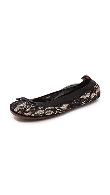 Yosi Samra Lace Ballet Flats with Leather Backing