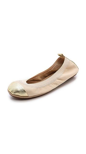 Yosi Samra Samantha Metallic Cap Toe Ballet Flats