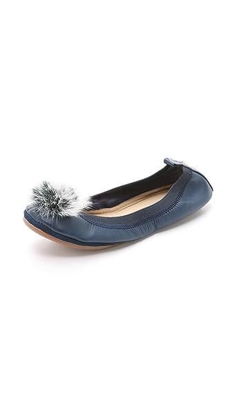 Yosi Samra Samara Fur Pom Pom Ballet Flats