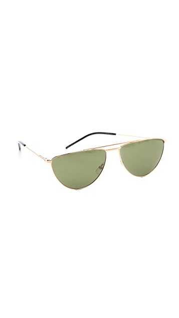 Saint Laurent Flat Top Aviator Sunglasses