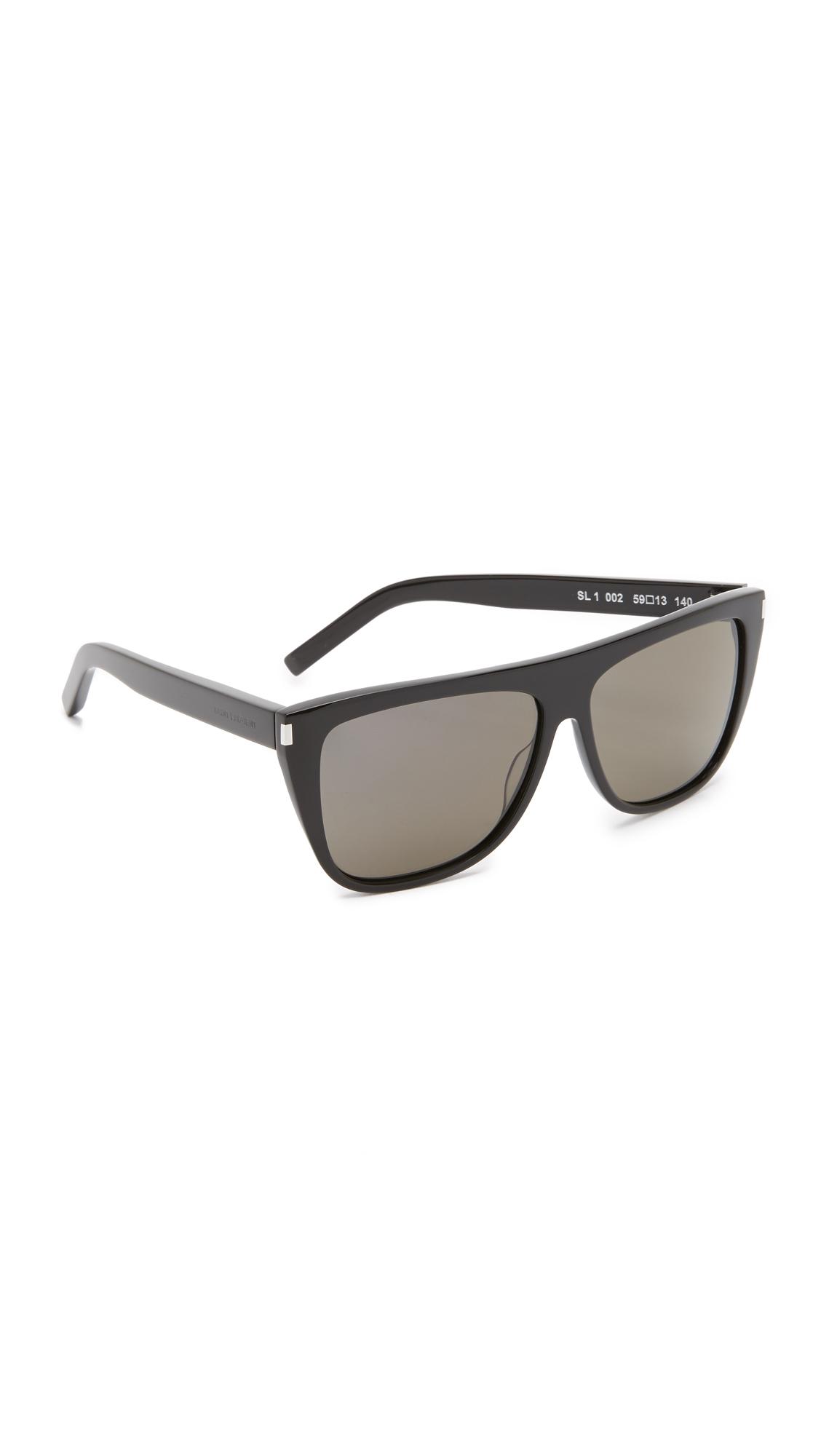 Saint Laurent SL 1 Mineral Glass Sunglasses In Black/Smoke