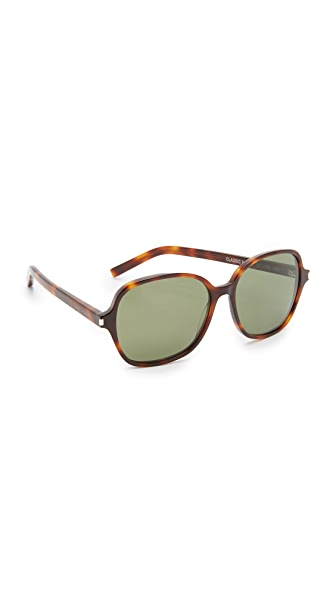 Saint Laurent Classic 8 Mineral Glass Sunglasses - Light Havana/Green