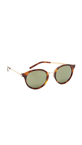 Saint Laurent Mineral Glass Sunglasses In Light Havana/Green