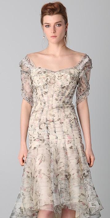 Zac Posen Print Bustier Midi Dress