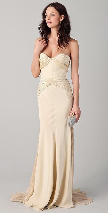 Zac Posen Duchess Strapless Satin Gown
