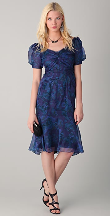 Zac Posen Short Sleeve Floral Dress
