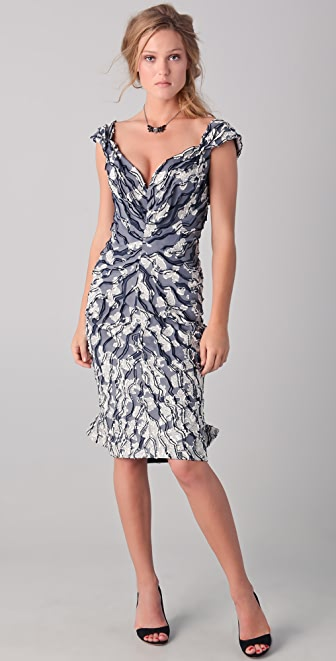 Zac Posen Off the Shoulder Jacquard Dress