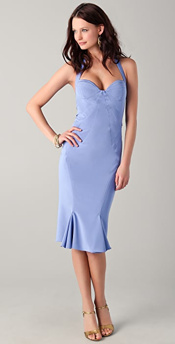 Zac Posen Sweetheart Halter Midi Dress