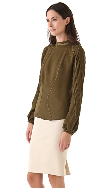 Zac Posen Silk Long Sleeve Blouse