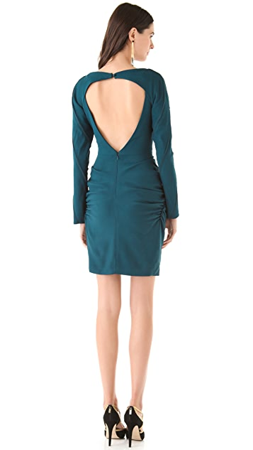 Zac Posen Open Back Ruched Dress
