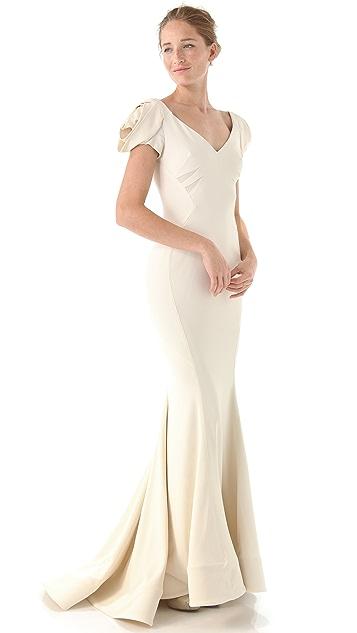 Zac Posen Rosette Sleeve Gown