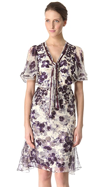 Zac Posen Print Silk Top