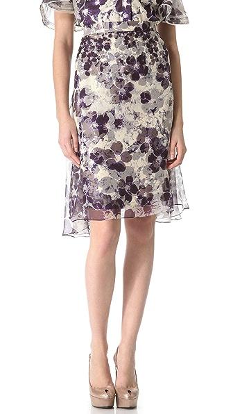 Zac Posen Floral Chiffon Skirt