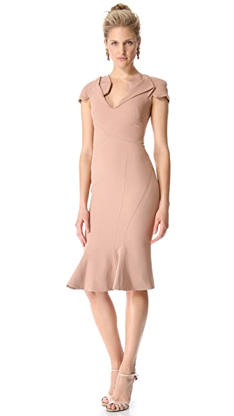Zac Posen Short Sleeve Collared Dress