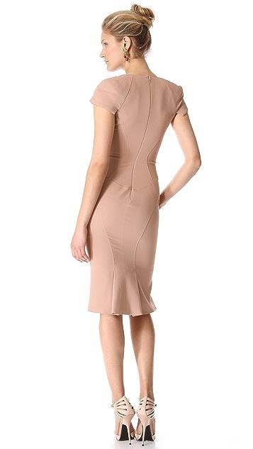 Zac Posen Short Sleeve Collared Dress