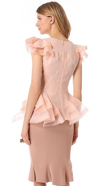 Zac Posen Short Sleeve Silk Blouse