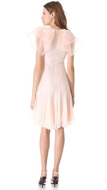 Zac Posen Silk Dress with Ruffle Sleeves
