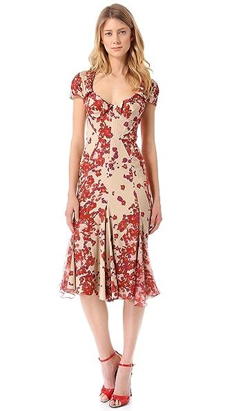 Zac Posen Short Sleeve Print Dress