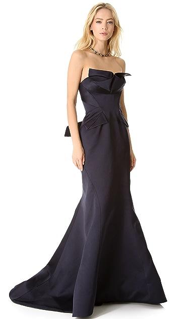 Zac Posen Strapless Satin Gown
