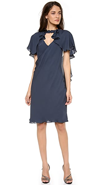 Zac Posen Flutter Sleeve Cocktail Dress
