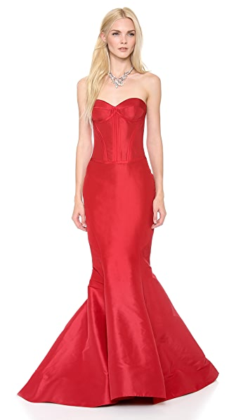 Zac Posen Strapless Silk Faille Gown
