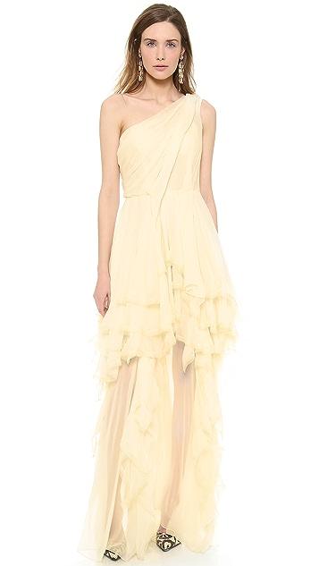 Zac Posen One Shoulder Gown
