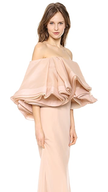Zac Posen Silk Gown with Ruffle Bodice