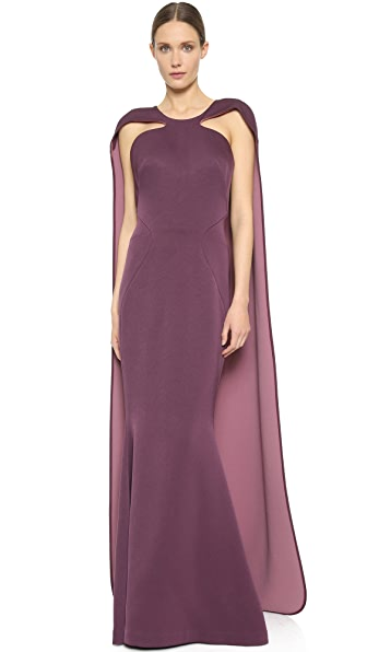 Zac Posen Cape Back Gown