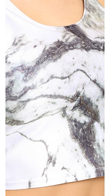 Terez Reversible Marble Crop Top with Shelf Bra