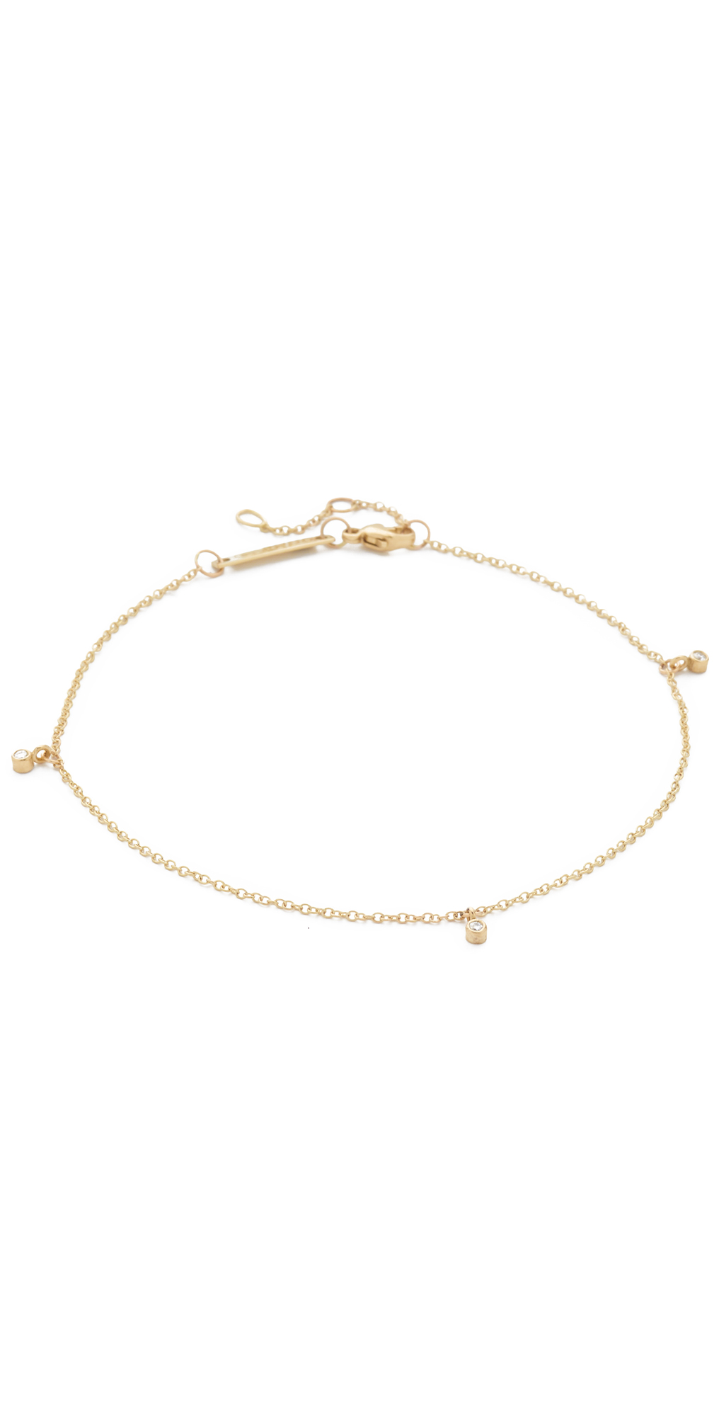 14k Gold Dangling Diamond Anklet Zoe Chicco