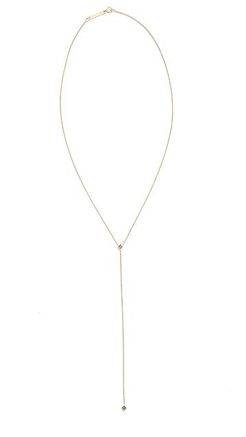 Zoe Chicco 14k Gold Lariat Necklace with Black Princess Diamonds