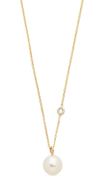 Zoe Chicco Freshwater Cultured Pearl Necklace with Floating Diamond