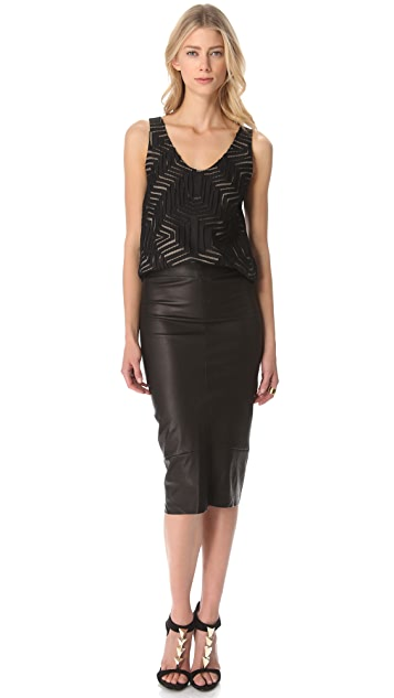 Zero + Maria Cornejo Leather Isis Skirt