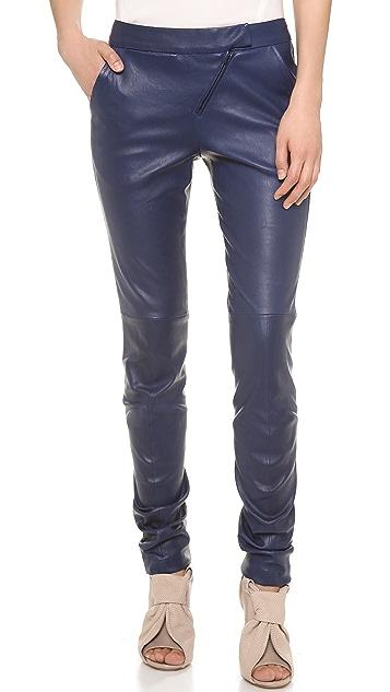 Zero + Maria Cornejo Leather Curve Knee Leggings