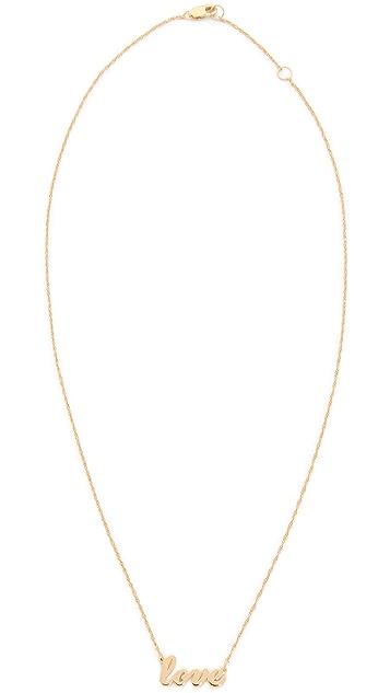 Jennifer Zeuner Jewelry Cursive LOVE Necklace