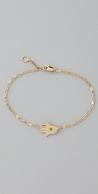 "Jennifer Zeuner Jewelry Mini 1/2"" Hamsa Bracelet with Emerald"