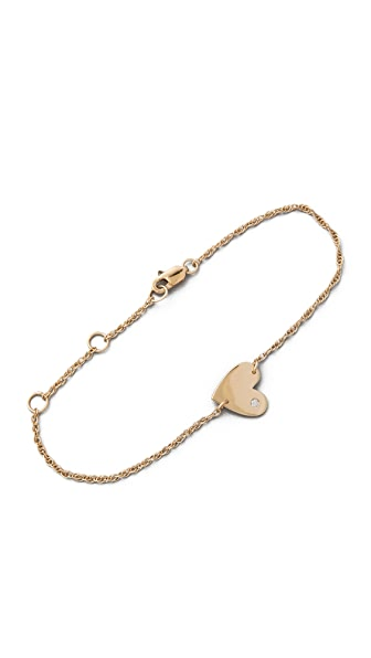 Jennifer Zeuner Jewelry Heart Chain Bracelet with Diamond
