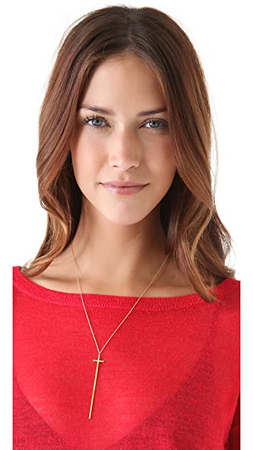 Jennifer Zeuner Jewelry Long Diamond Cross Necklace