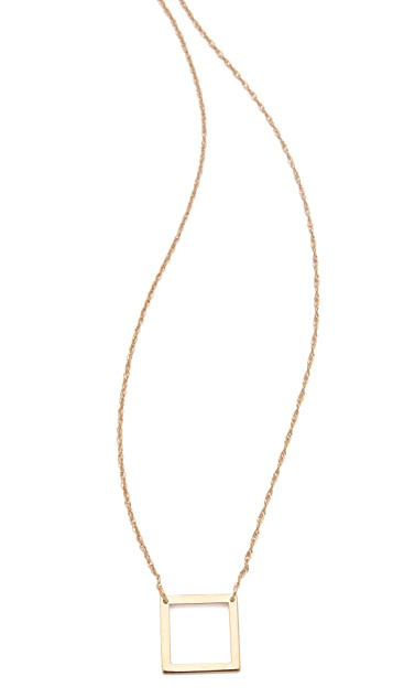 Jennifer Zeuner Jewelry Small Open Square Necklace
