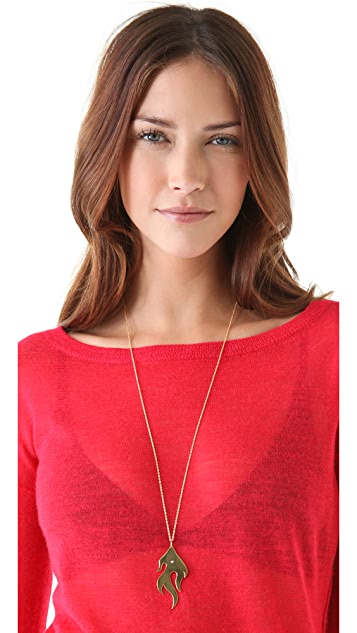 Jennifer Zeuner Jewelry Large Diamond Flame Necklace